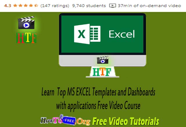 Learn  TOP MS EXCEL Templates and Dashboards with applications Free Video Course